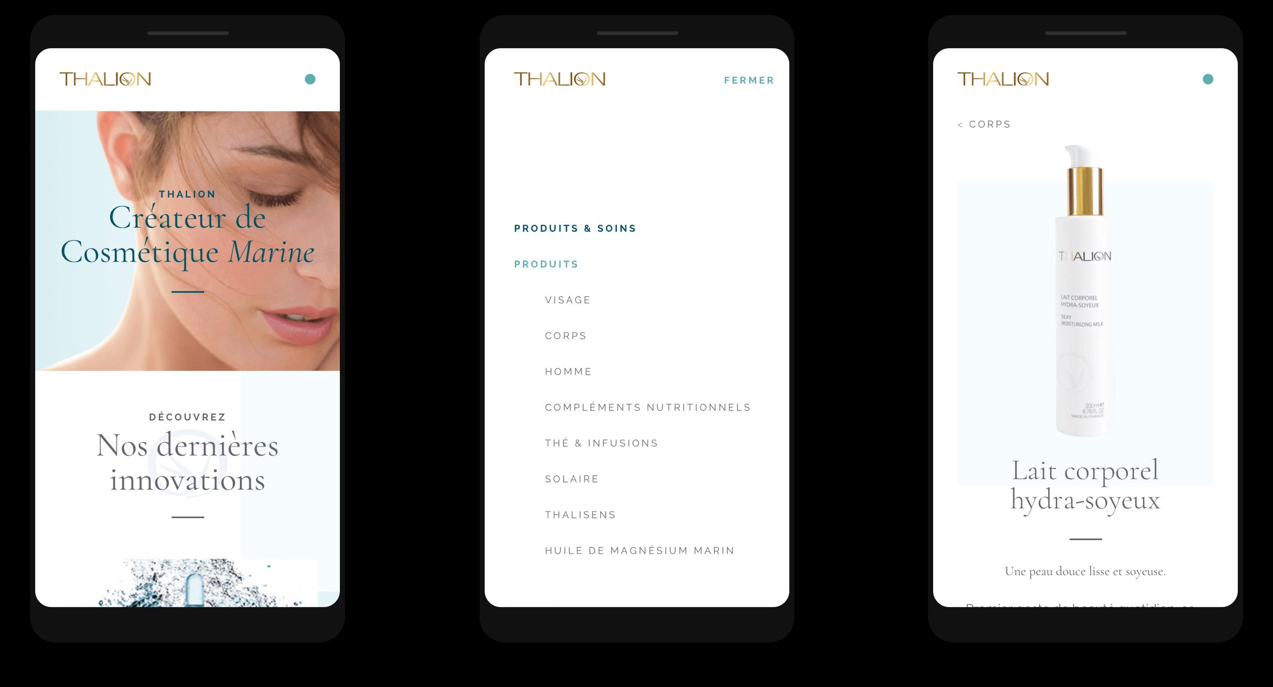 Versions mobiles du site thalion