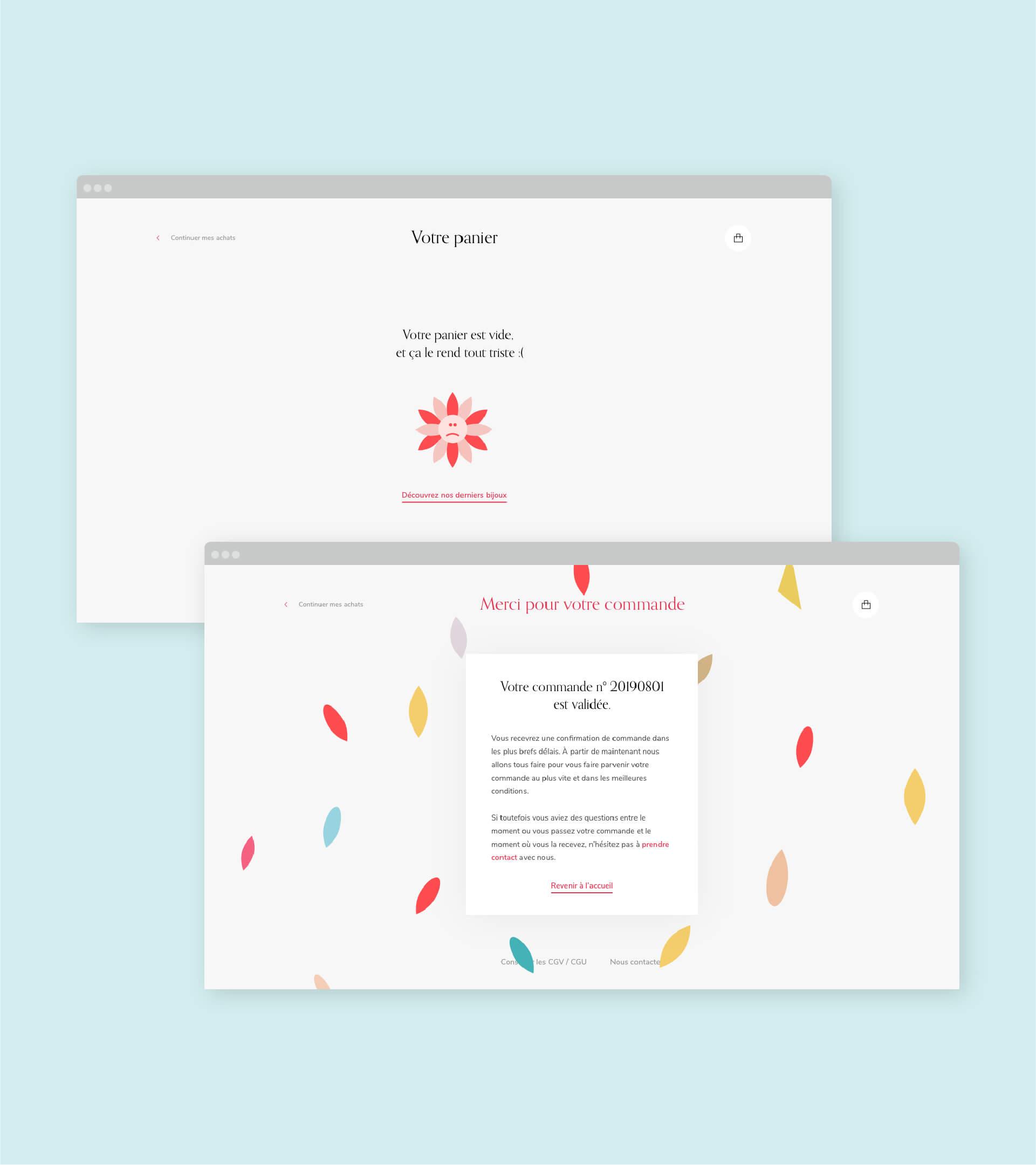 Page de panier vide et page de succès du site Demisel Bijoux en version desktop