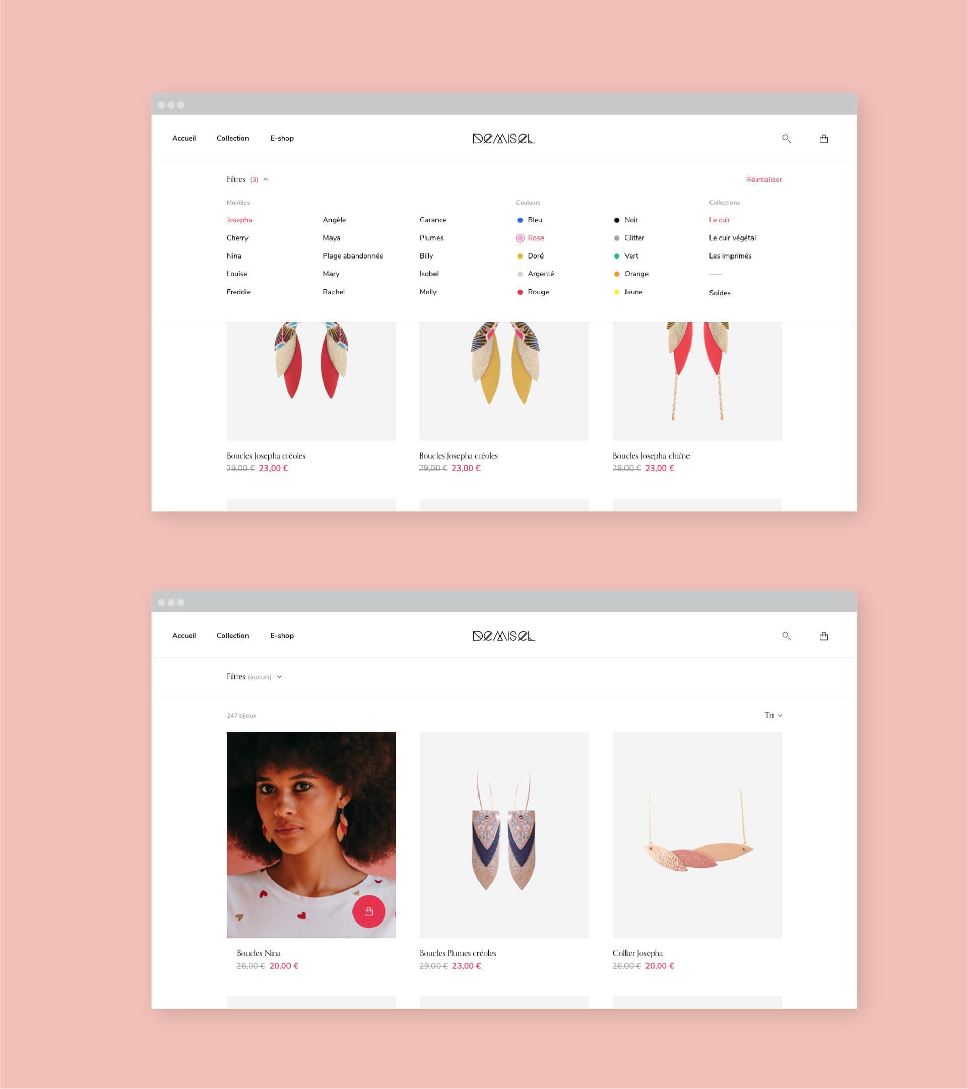 Page de liste produits du site Demisel Bijoux avec filtre ouvert en version desktop