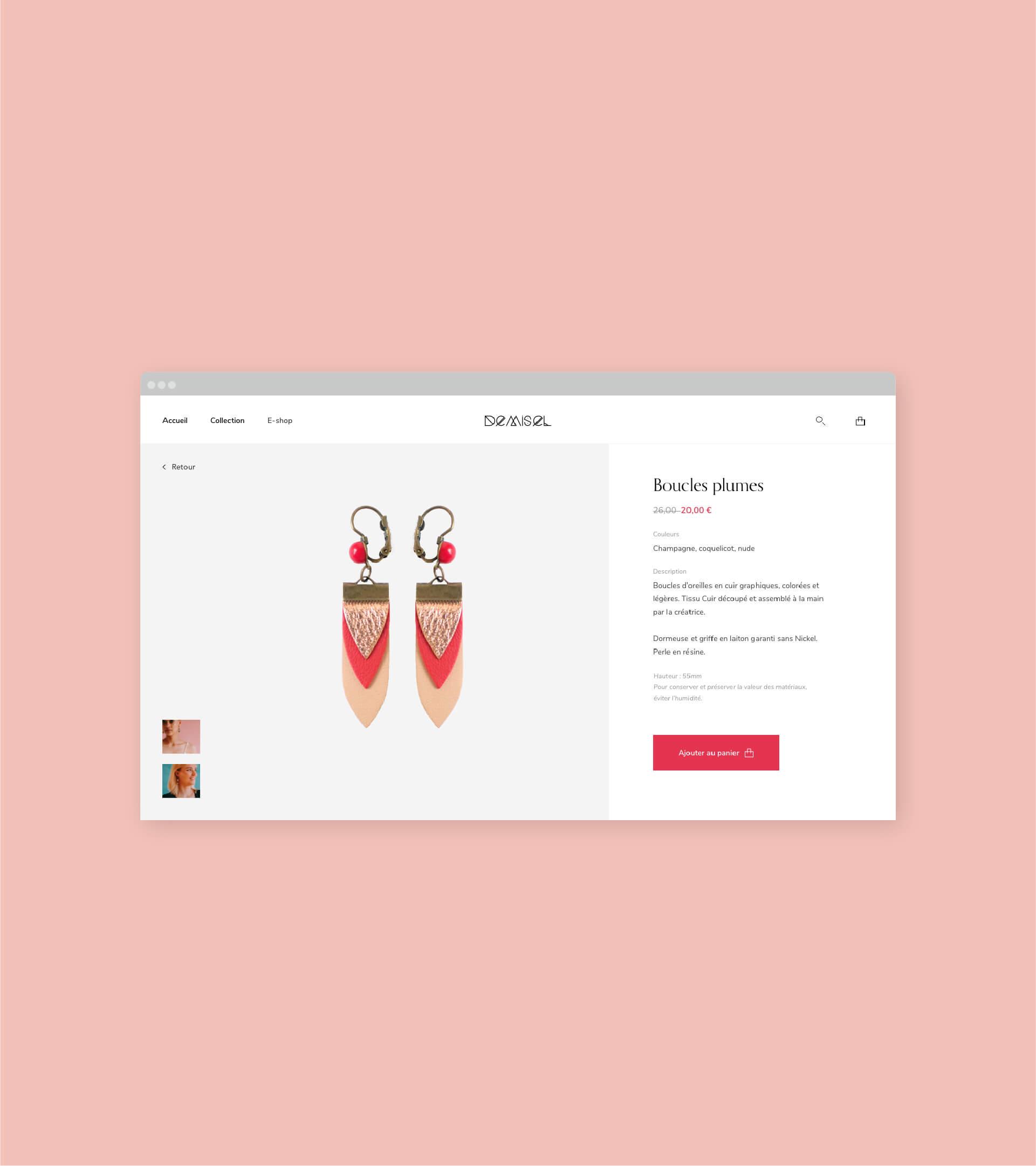 Page de détail produit du site Demisel Bijoux en version Desktop