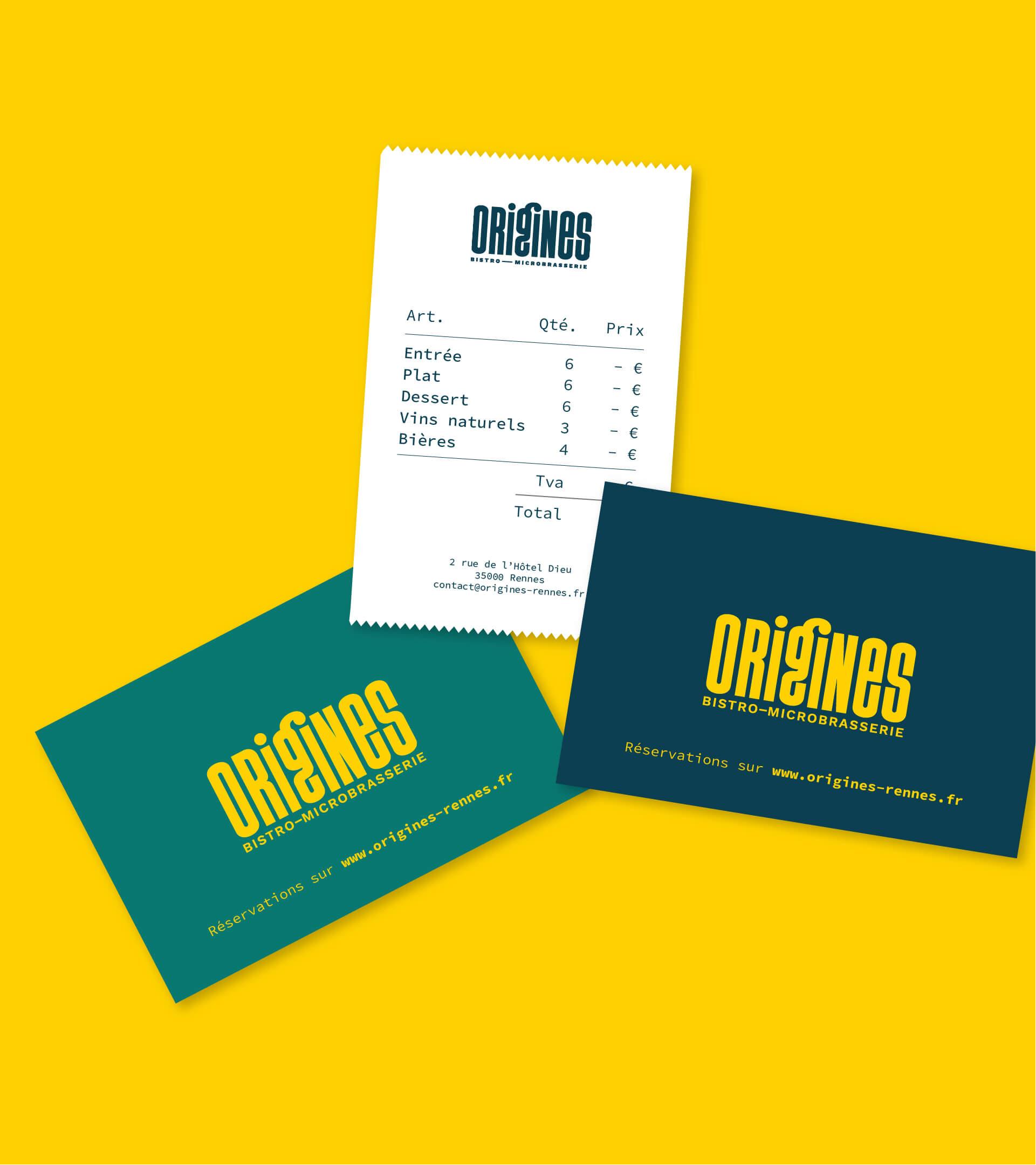 Ticket de caisse et cartes de visite pour Origines Bistro-Microbrasserie