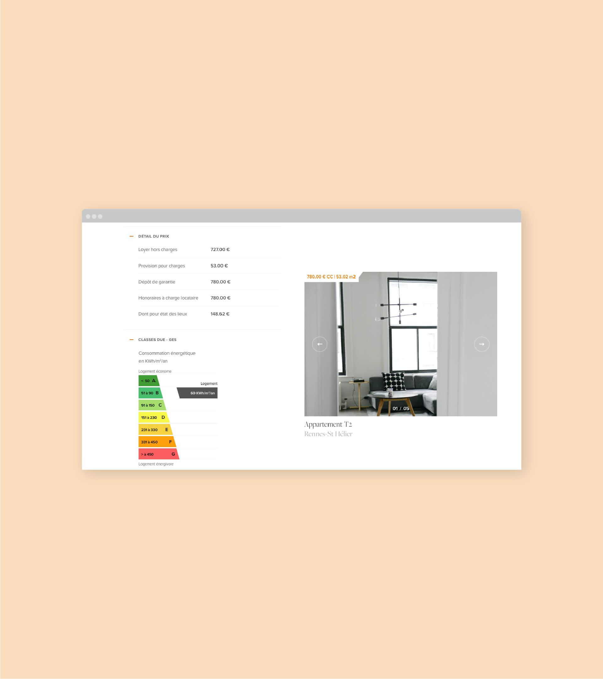 Page détail annonce immobilière du site Suggestion en version desktop
