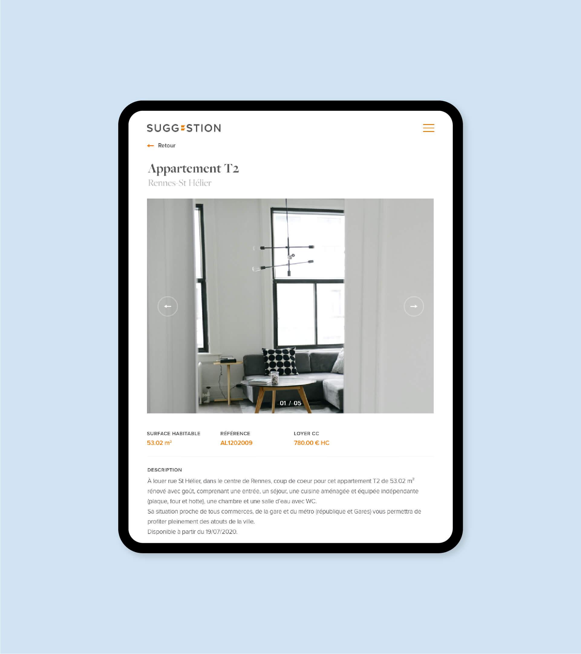 Page de détail d'une annonce immobilière du site Suggestion en version tablette