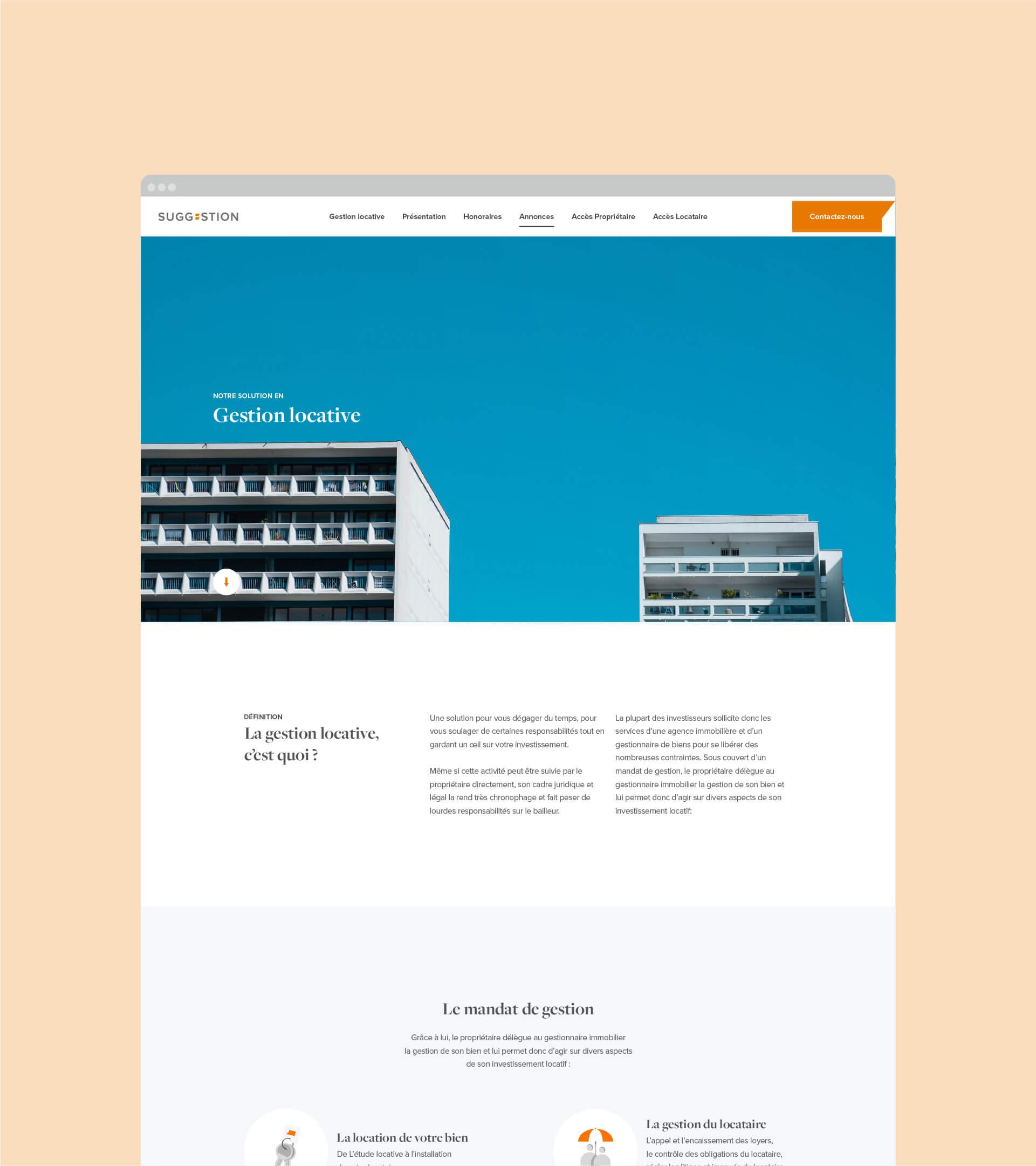 Page Gestion Locative du site Suggestion en version desktop