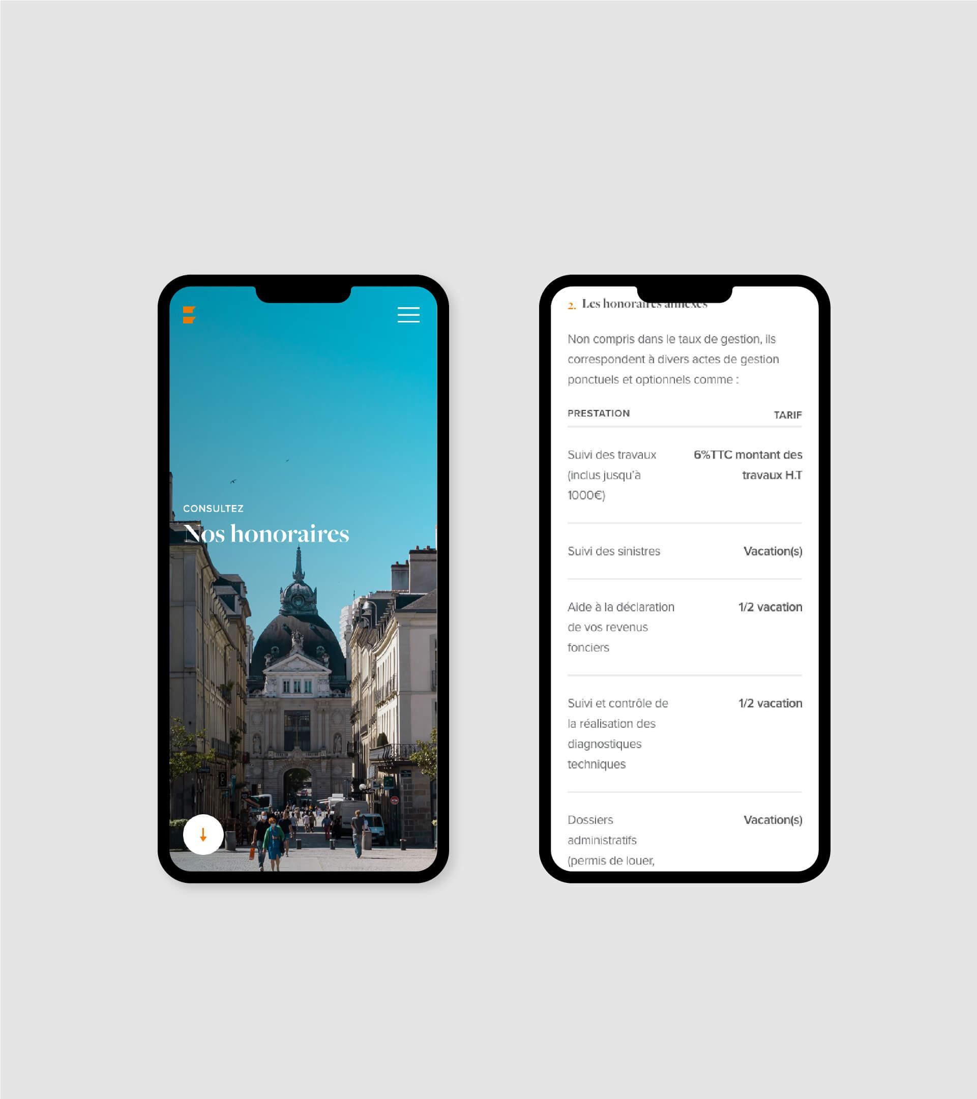 Page honoraires du site suggestion en version mobile