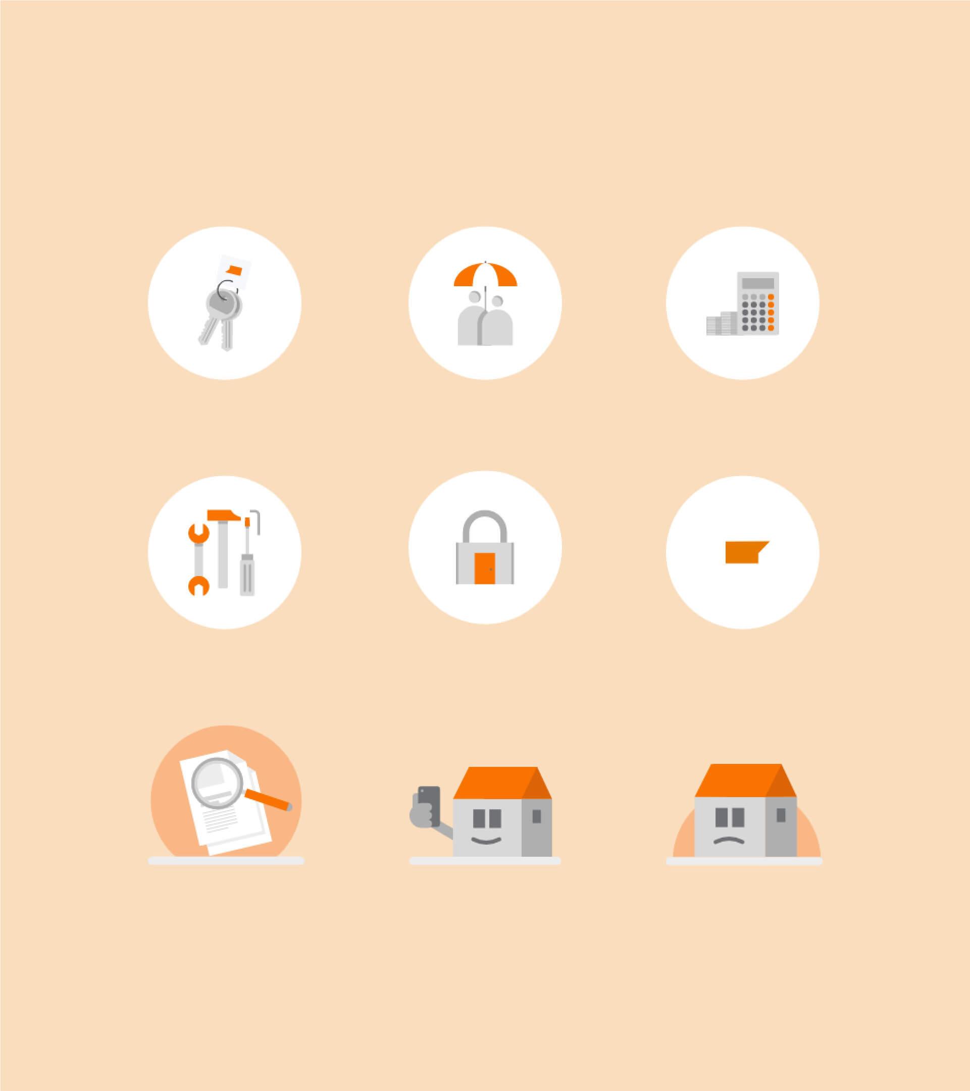Set de de pictogrammes pour le site Suggestion