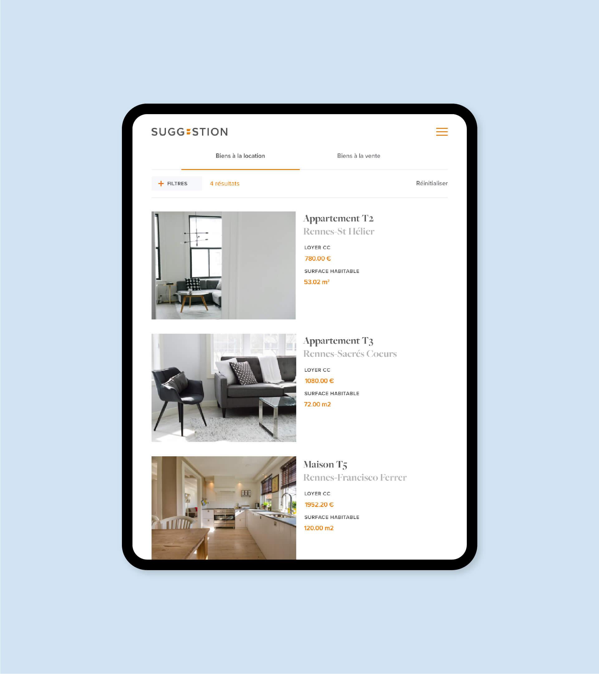 Page de liste d'annonces du site Suggestion en version tablette