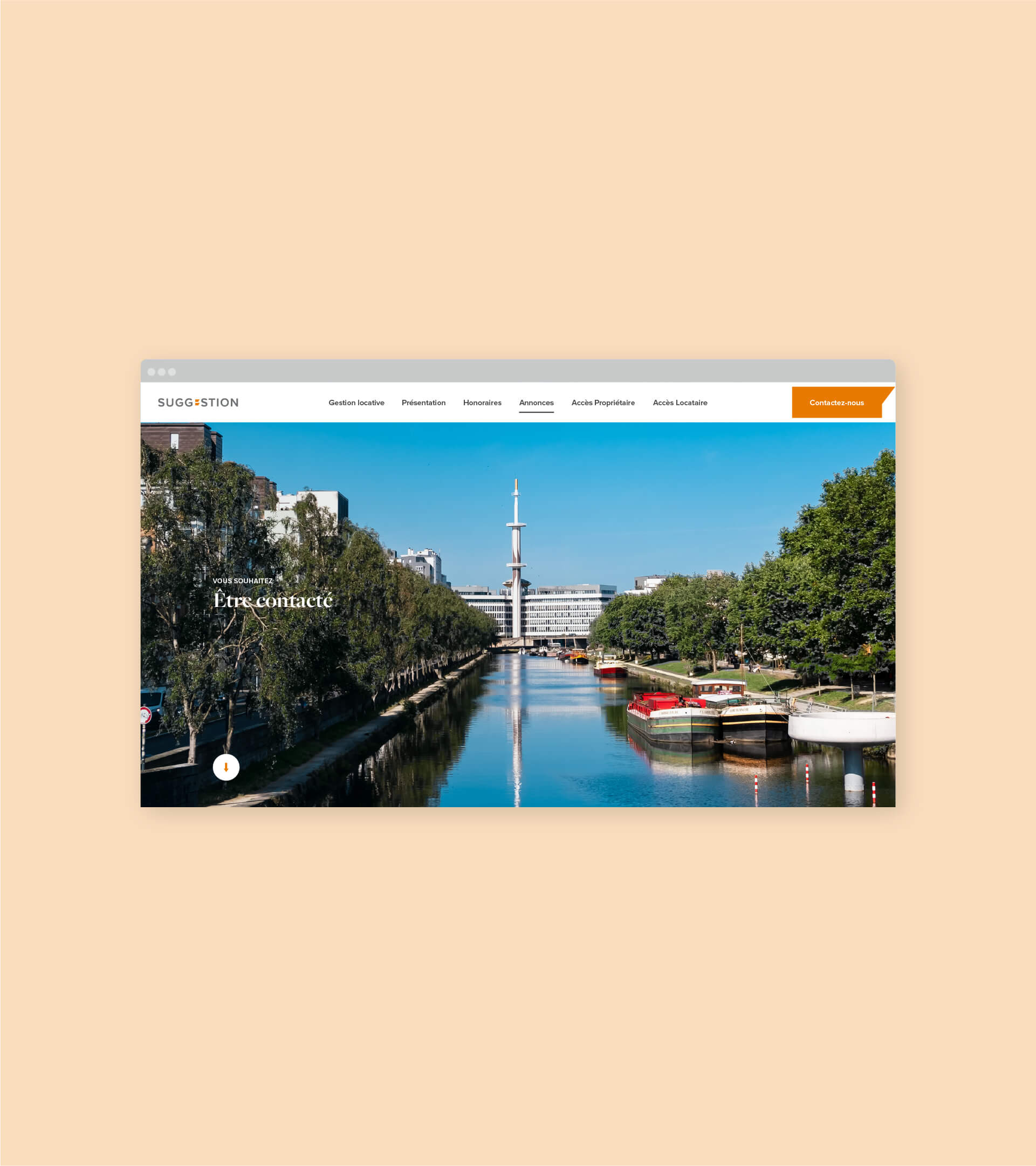 Page contact du site web Suggestion en version desktop